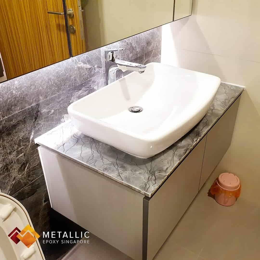 metallic epoxy grey marble vanity top bathroom