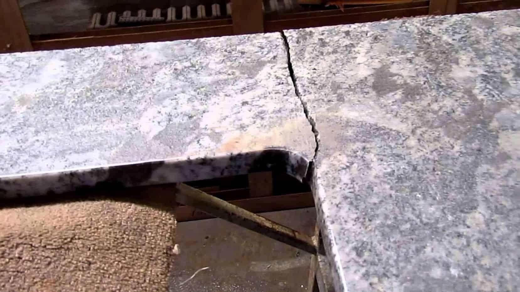 cracked granite countertop