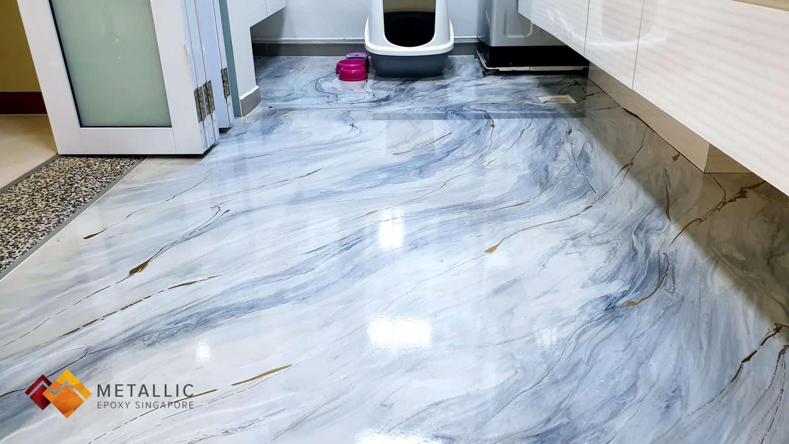 metallic epoxy marble kitchen floor